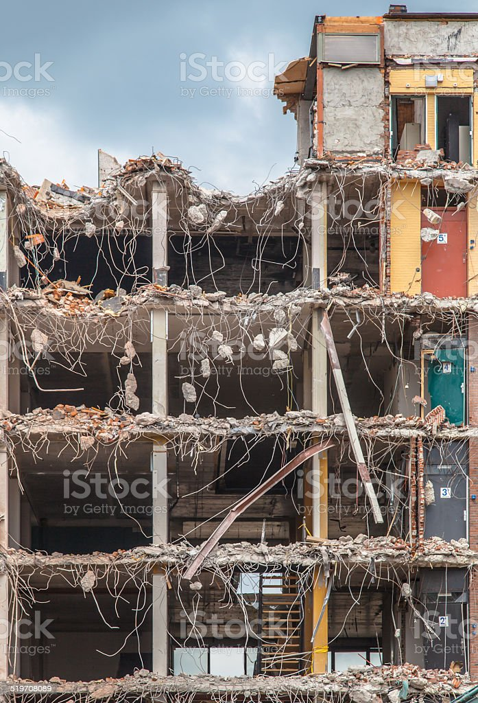 Demolition of a Multi Floor Bulding stock photo