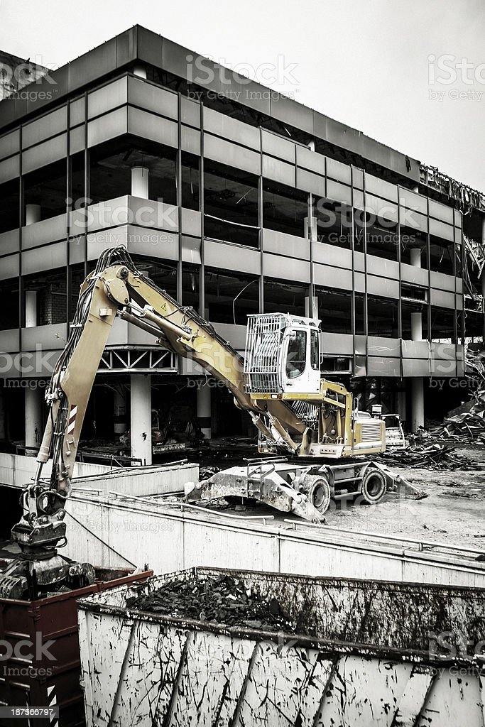 Demolition of an office building royalty-free stock photo