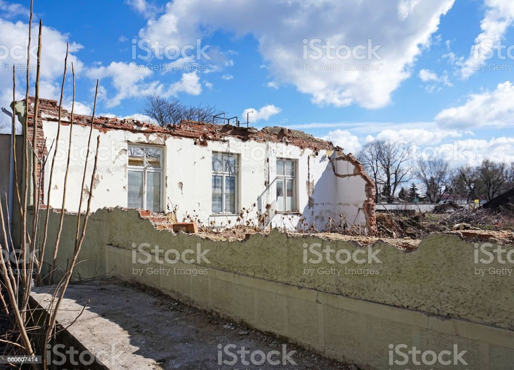 Demolition of an old building royalty-free stock photo
