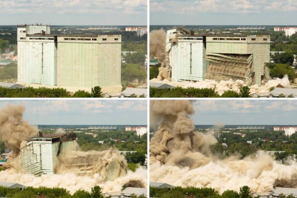 démolition d'un ancien bâtiment industriel - imploser photos et images de collection