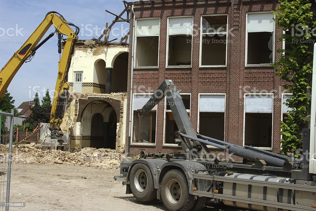 Demolition of an old school building stock photo