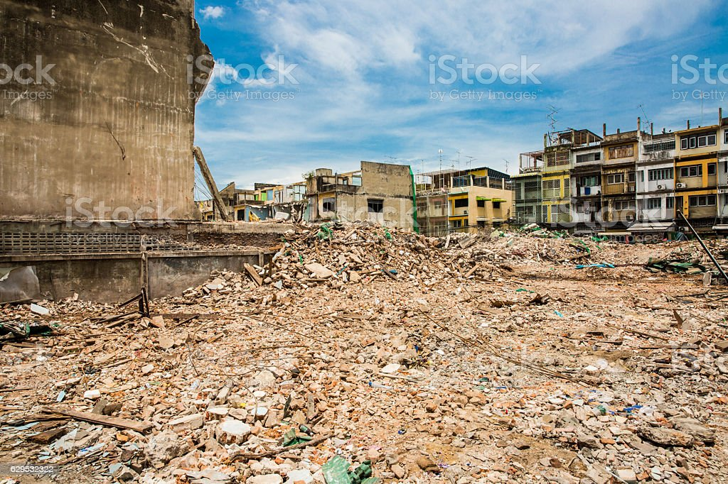 Demolition of buildings destroyed stock photo