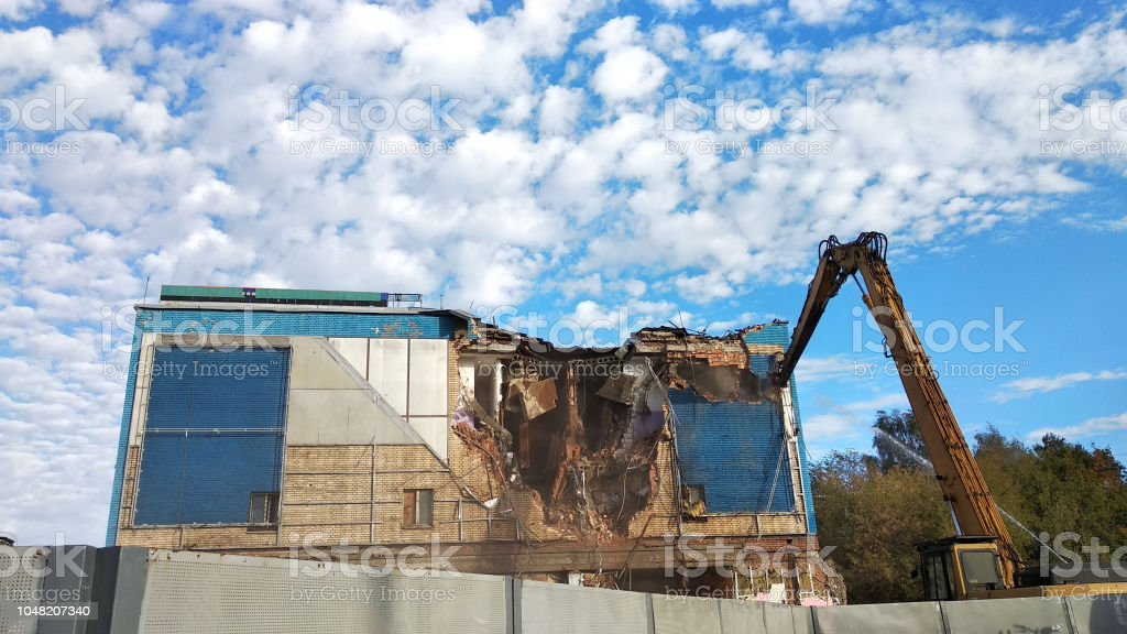 Demolition of old building stock photo