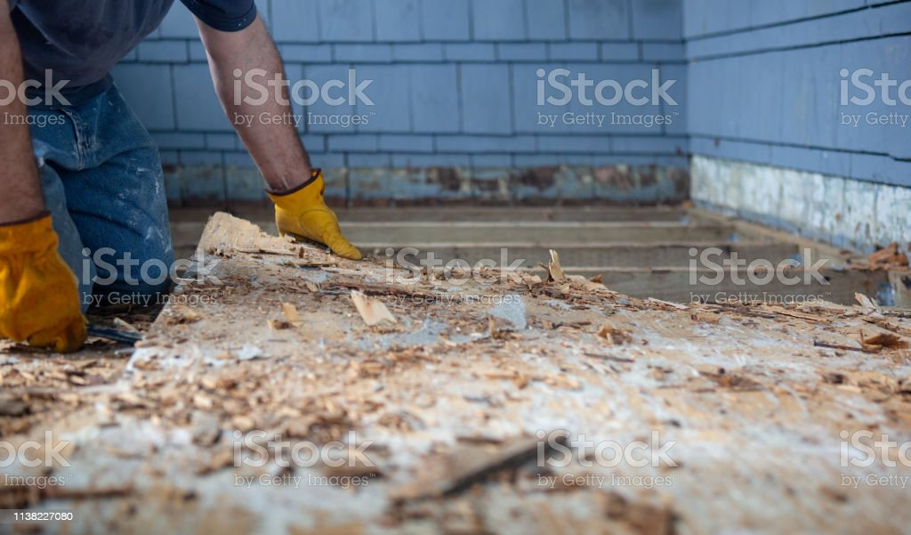 Demolition of Rotten Deck stock photo