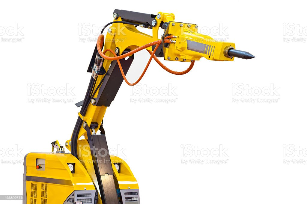 demolition robot isolated on white stock photo