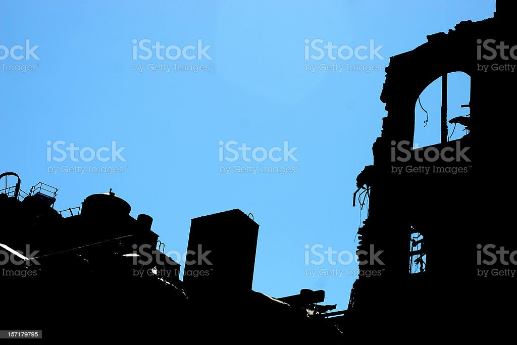 demolition silhouette royalty-free stock photo