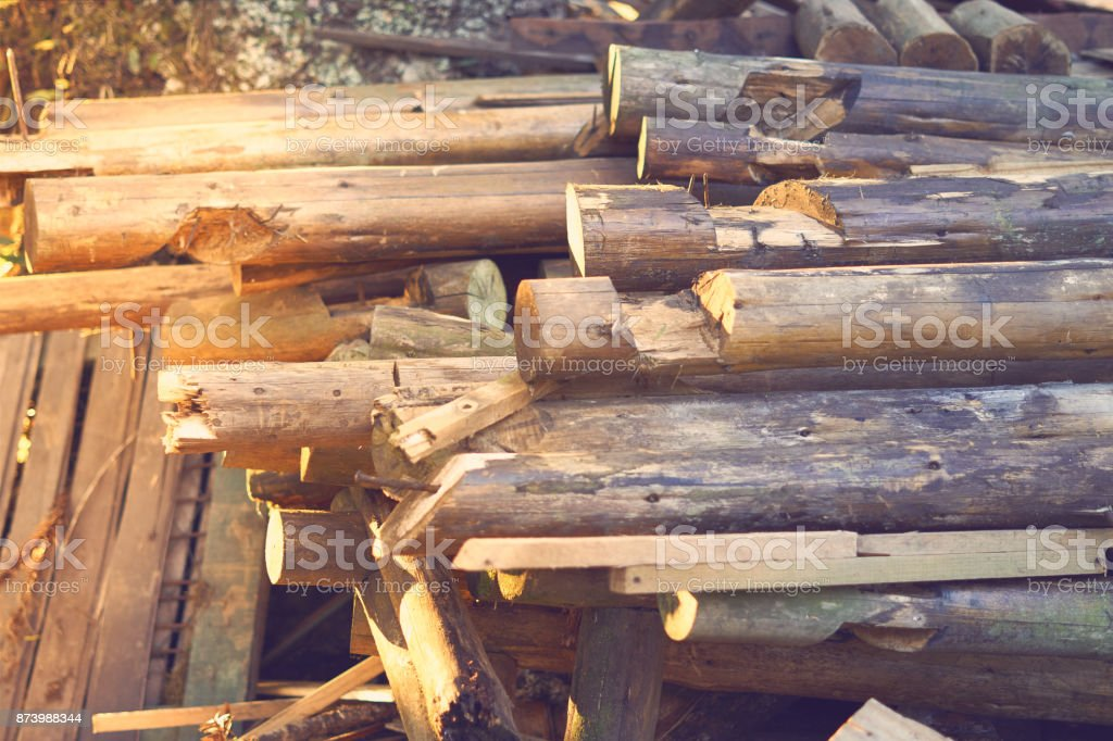 Demolition wood stacked to be reused in a new work. stock photo
