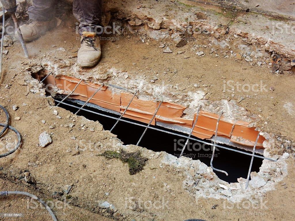 Demolizione in corso stock photo