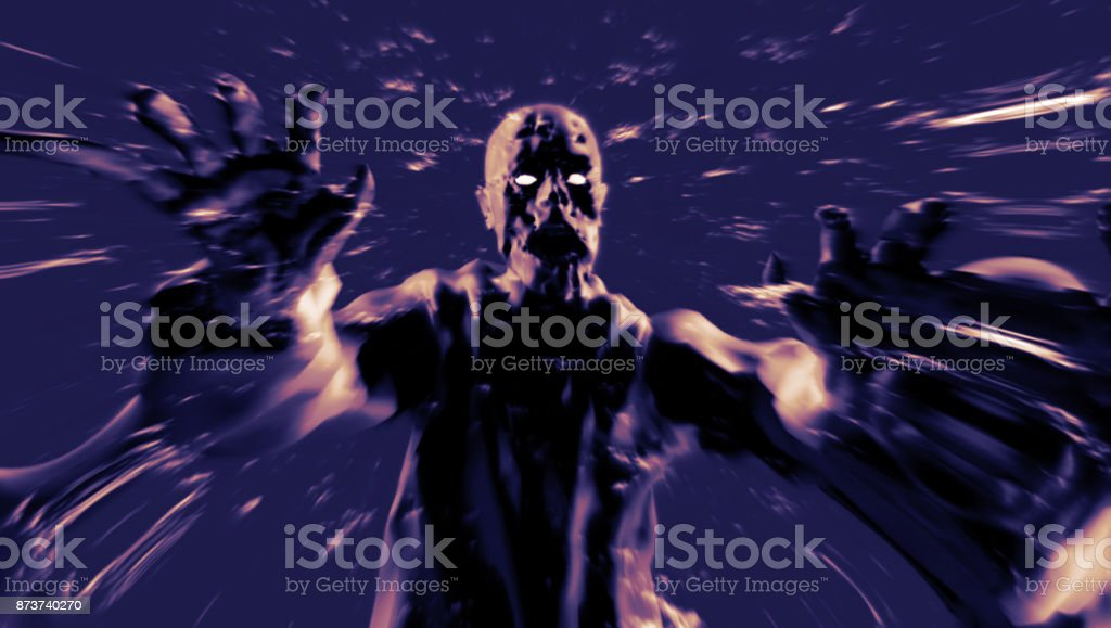 両手を広げて悪魔攻撃。3 D イラスト。 ストックフォト