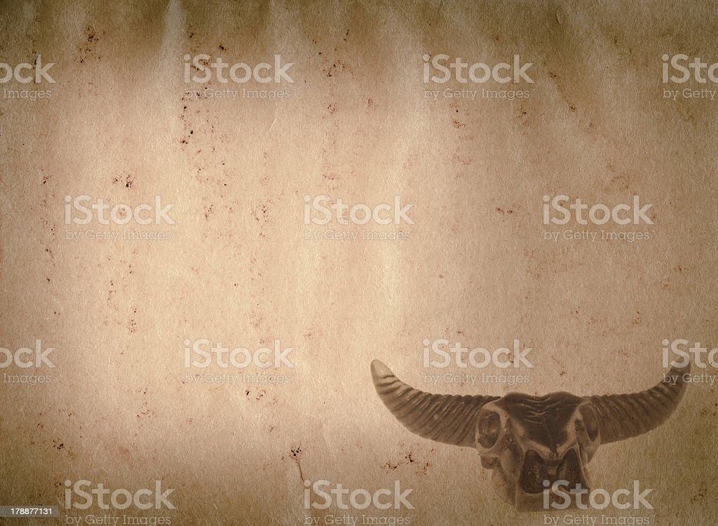 demon bull skull old grunge paper texture royalty-free stock photo