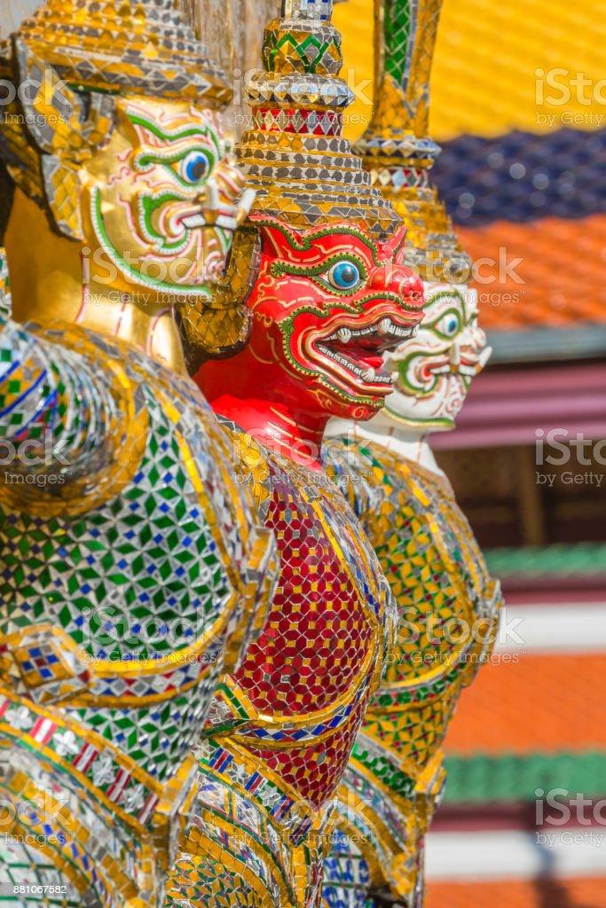 Demon Guardian at Grand Palace Thailand, Bangkok stock photo