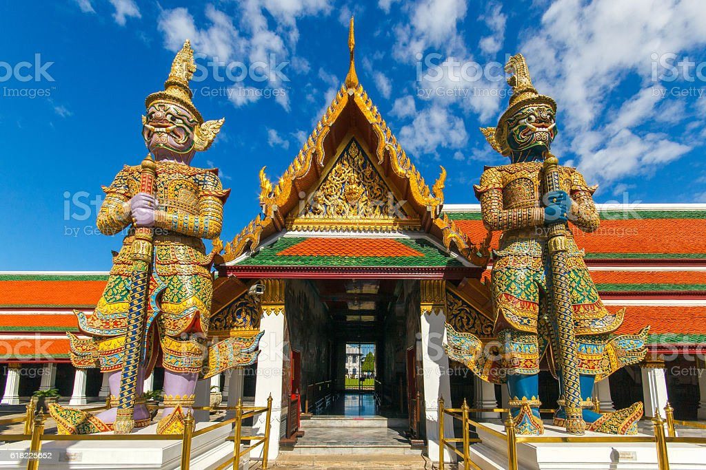 Demon Guardian in Wat Phra Kaew Grand Palace Bangkok stock photo