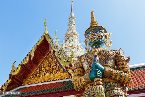 Demon Guardian in Wat Phra Kaew (Temple of the Emerald Buddha), Grand Palace in Bangkok, Thailand