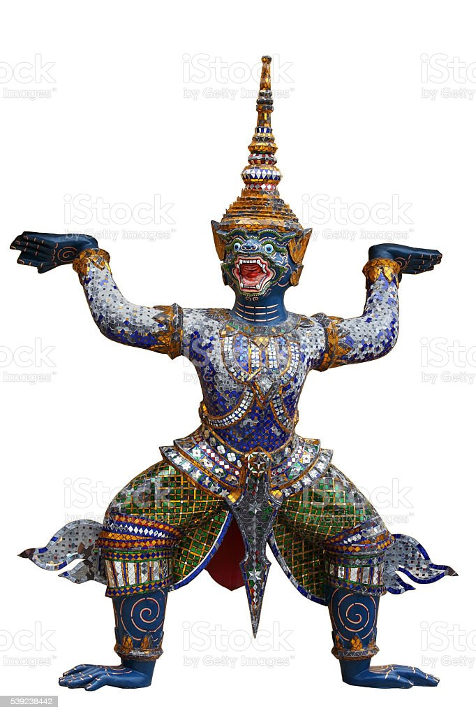 demon which support golden chedi royalty-free stock photo