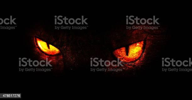 An illustration of burning demonic eyes.