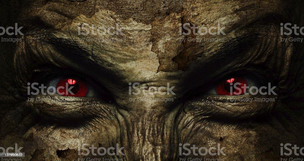 demonic ugly face stock photo