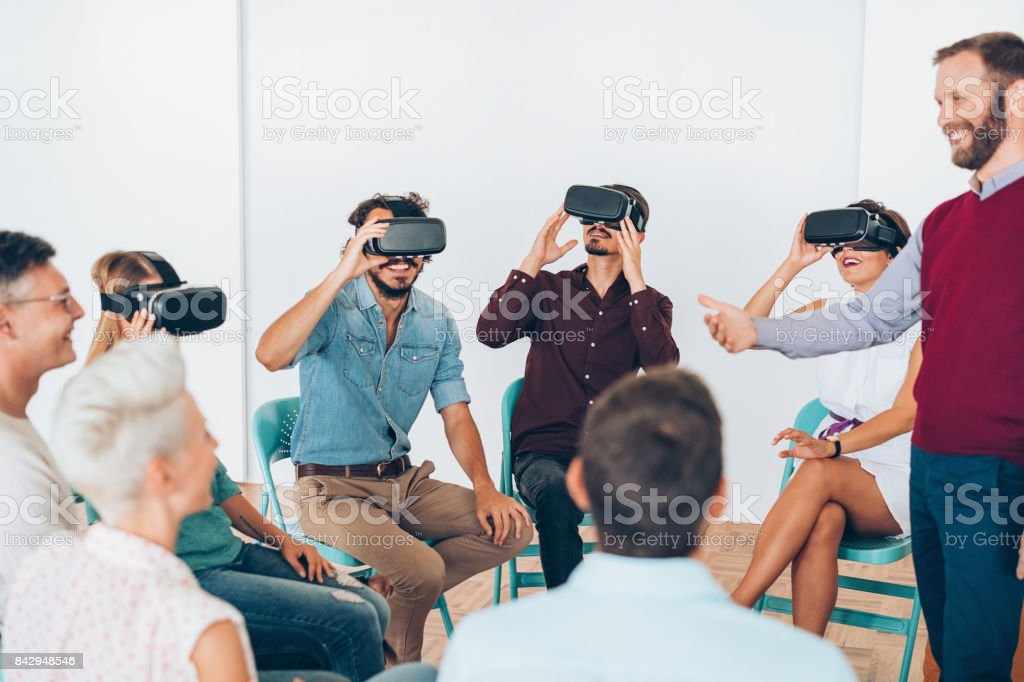 Demonstrating the virtual reality technology stock photo
