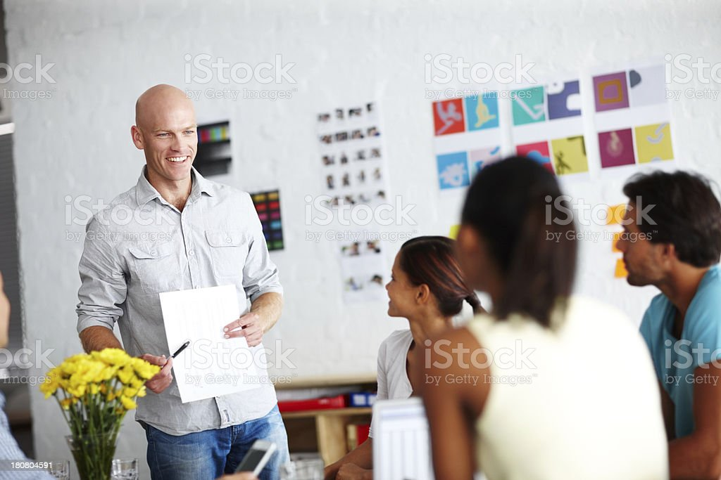 Demonstrating what he wants done royalty-free stock photo