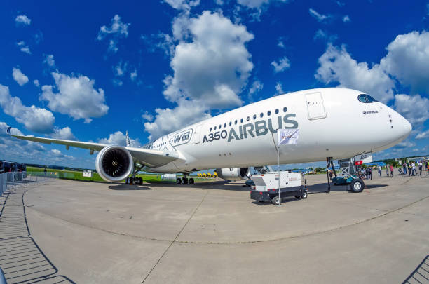 Demonstration airplane Airbus A350 XWB. Russia, Moscow. Zhukovsky airport.  July 19, 2017 - foto stock