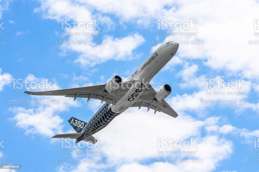 Demonstration airplane Airbus A350 XWB. Russia, Moscow. Zhukovsky airport. July 19, 2017 stock photo