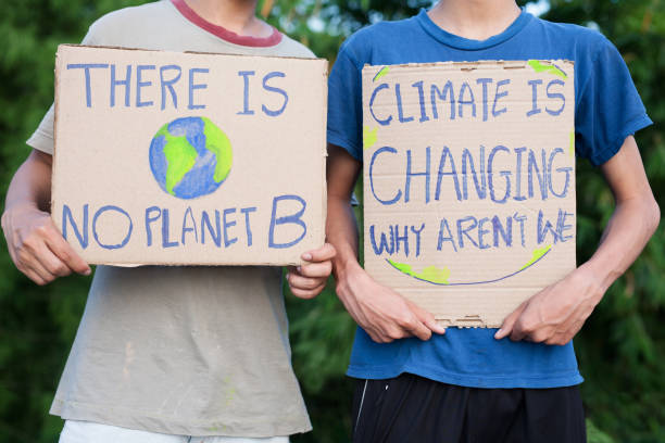 demonstration and climate change stock photo
