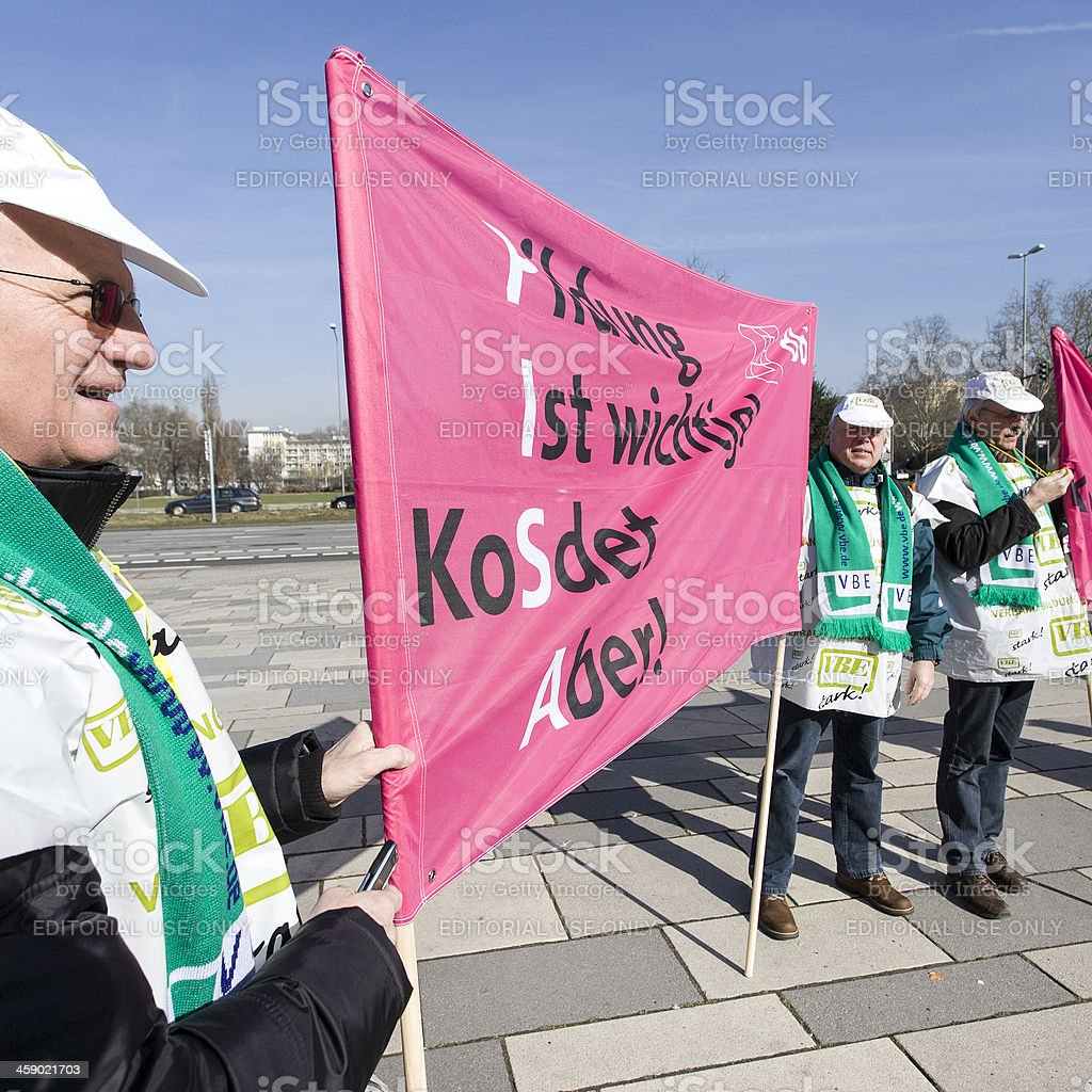 Demonstration and union strike action in german public services royalty-free stock photo