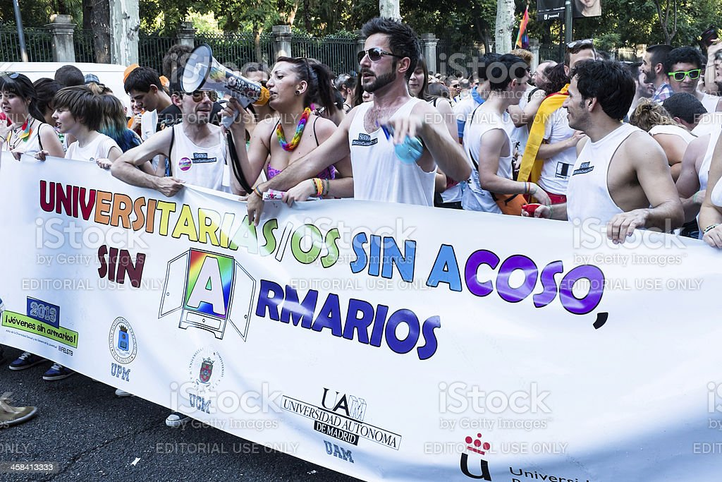 Demonstration at the Gay Pride parade in Madrid royalty-free stock photo