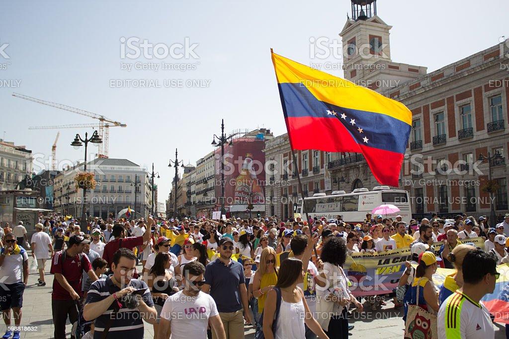 Manifestación por la democracia en Venezuela stock photo