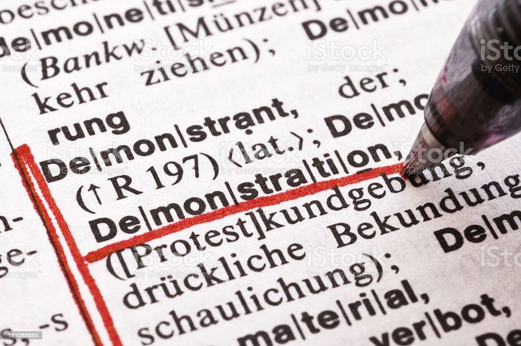 Demonstration - German word drawing royalty-free stock photo