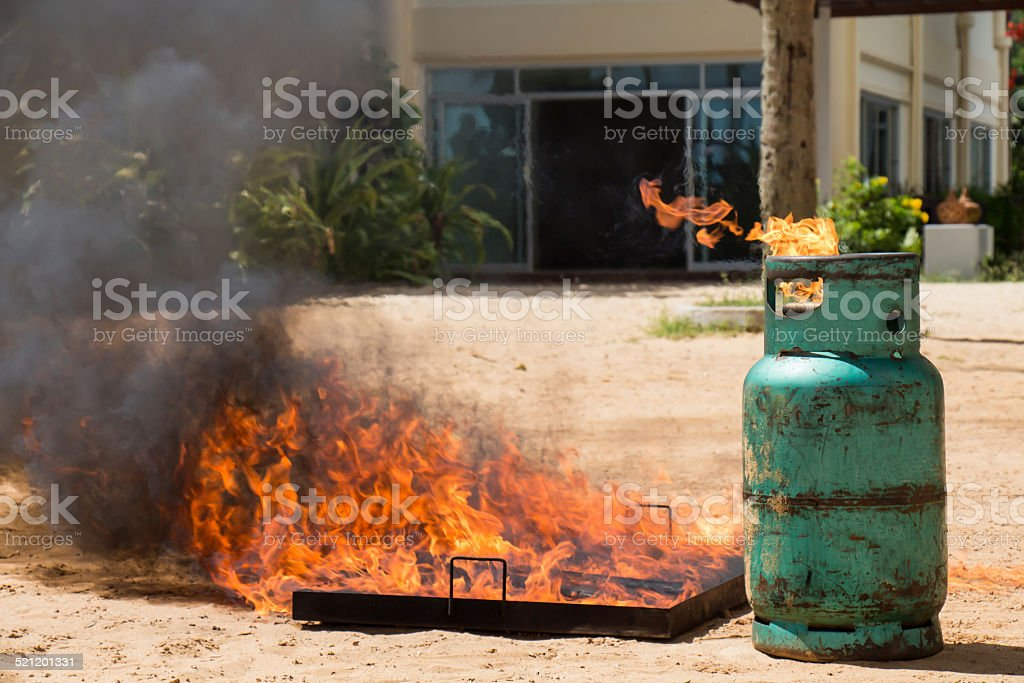 Demonstration ignited a gas tank stock photo