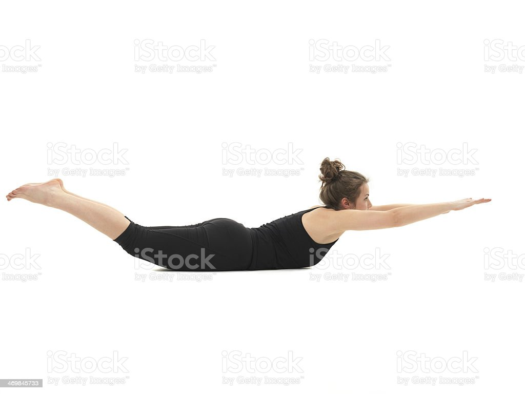 demonstration of advanced yoga posture royalty-free stock photo