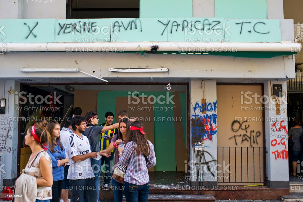 Demonstration of 'Istanbul Taksim Gezi Park' - Starbucks- Turkey royalty-free stock photo