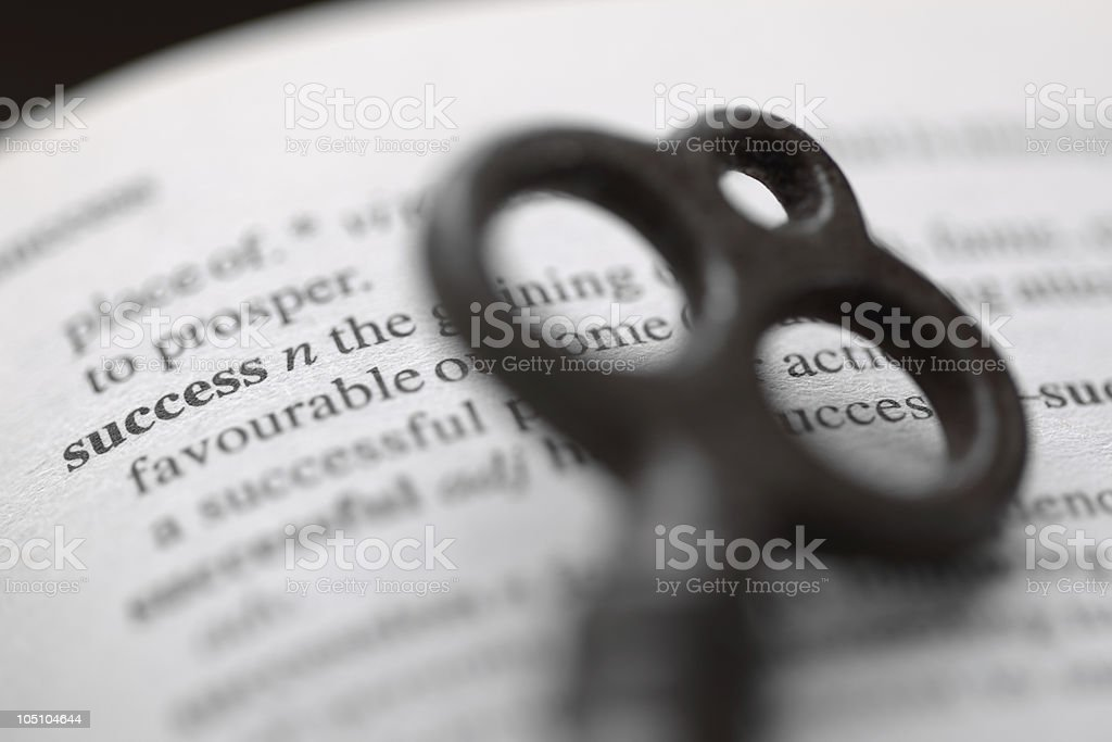 Demonstration of key to success concept stock photo