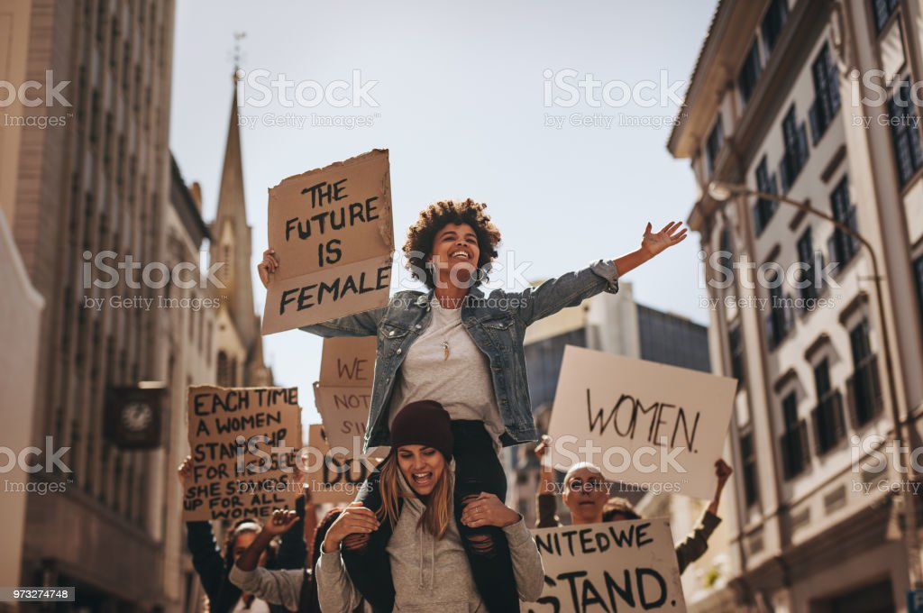 Demonstration of the future is female stock photo