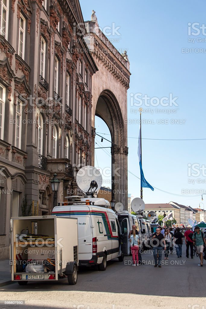 Demonstration on the occasion of  the G7 summit, Munich, 2015 stock photo