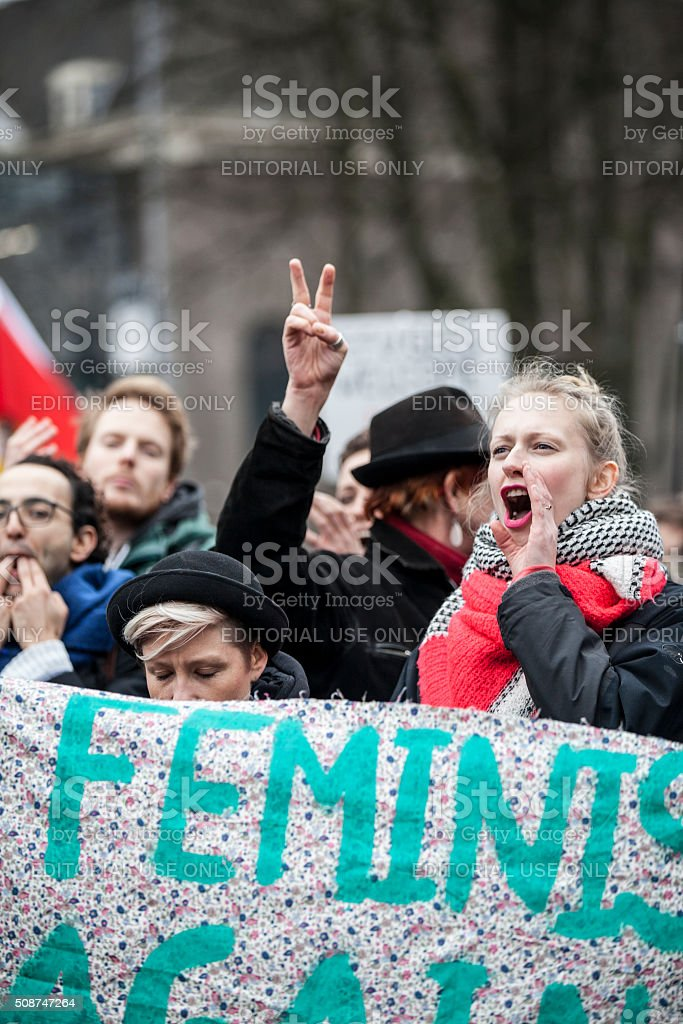 demonstration organized to protest against Pegida, racism and islamophobia, Amsterdam stock photo