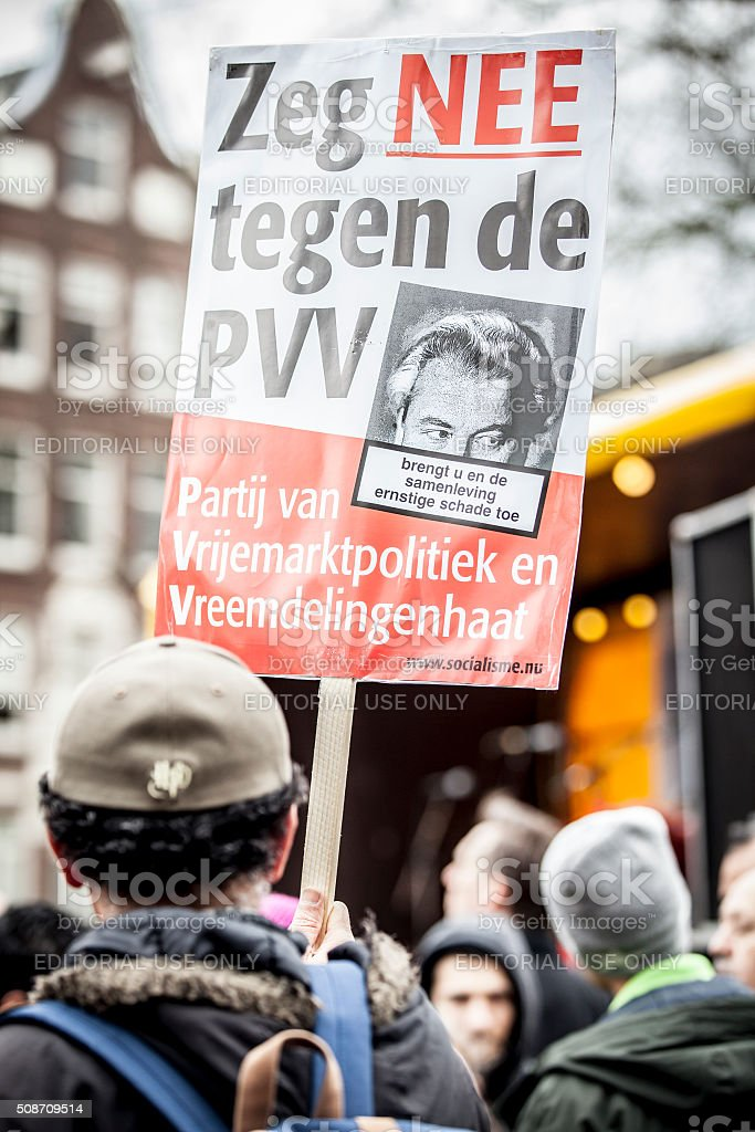demonstration organized to protest Demontration against racism and islamophobia, Amsterdam stock photo