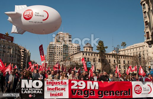 Valencia, Spain - March 11, 2012: Protesters in a demonstration in Valencia streets to protest against social cuts.