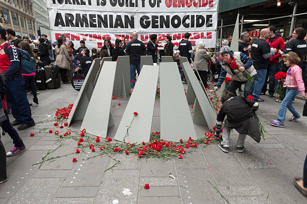 Demonstration New York, NY USA - April 26, 2015: Makeshift memorial built for rally in Manhattan Times Square to mark centennial of the deaths of 1.5 million Armenians under the Ottoman Empire in 1915 armenian genocide stock pictures, royalty-free photos & images