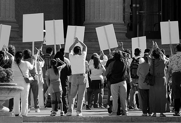 Demonstration. Protesting crowd with signs. stock photo