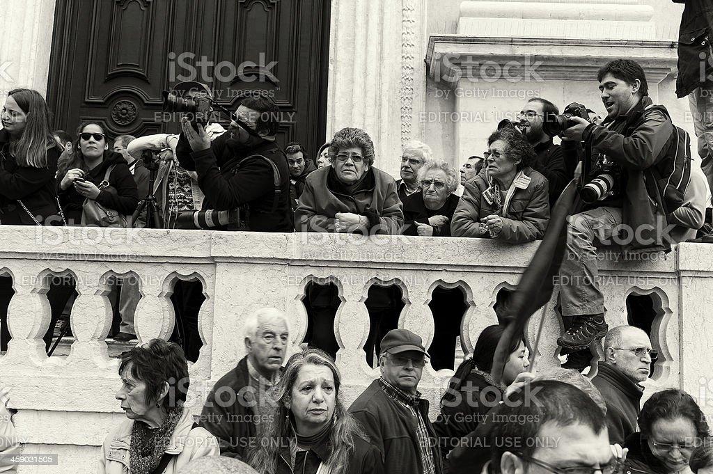 Demonstration Spectators in Lisbon royalty-free stock photo