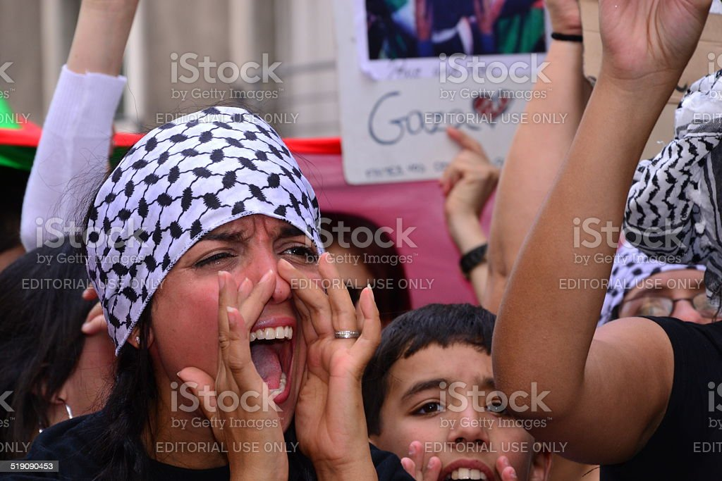 Demonstration to protest Israel's military operation in Gaza stock photo
