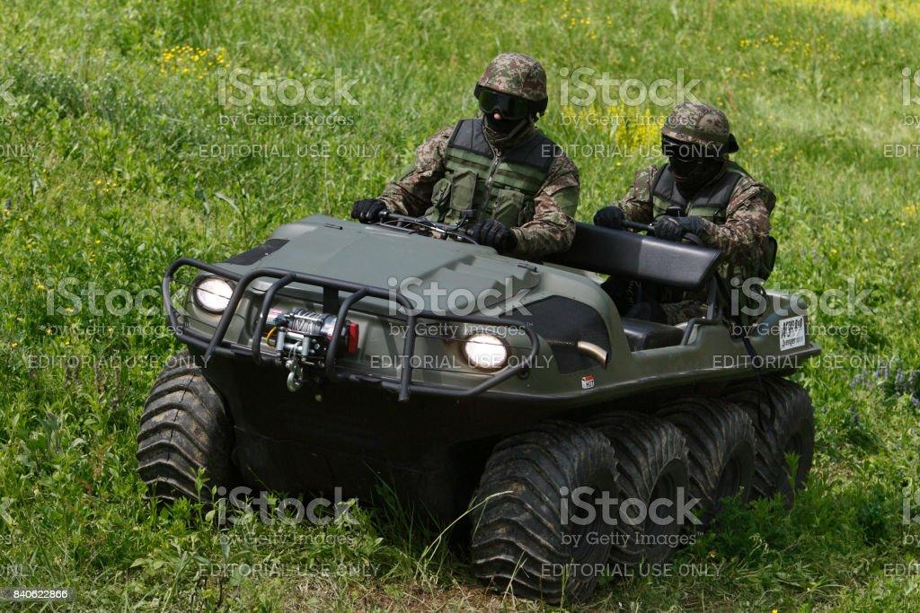 Demonstrational exercise of anti-terrorist unit of Serbian police stock photo