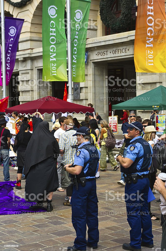 Demonstrations at CHOGM in Perth October 2011 stock photo
