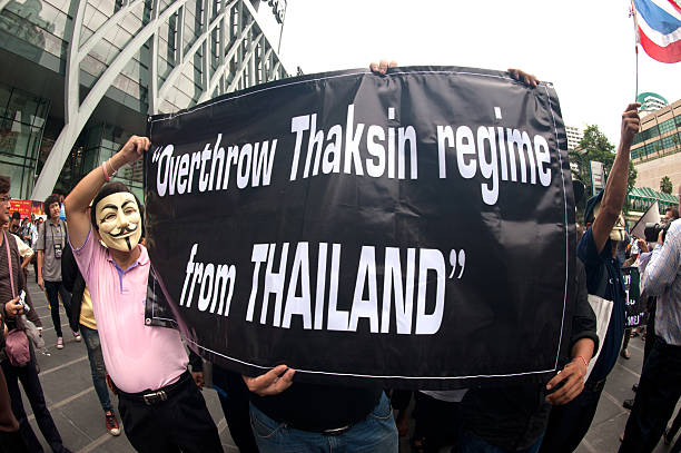 demonstrators  from anti-government v for thailand groups in bangkok. - guy fawkes mask stock photos and pictures