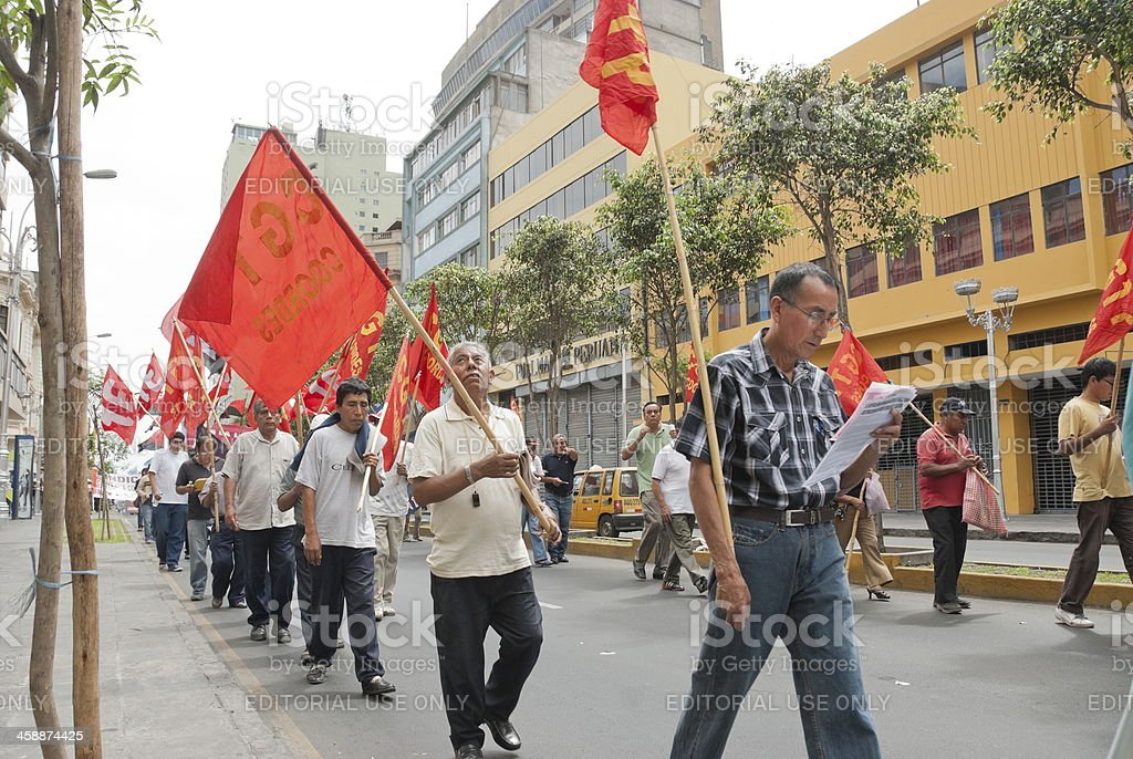 Demonstrators take part at May Day demonstration in Lima, Peru. royalty-free stock photo