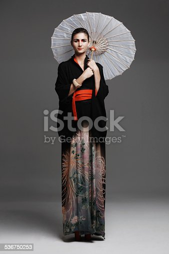 Studio fashion shot of a young woman wearing oriental-style clothinghttp://195.154.178.81/DATA/istock_collage/872075/shoots/783774.jpg