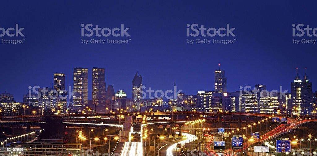 Den Haag skyline at night stock photo
