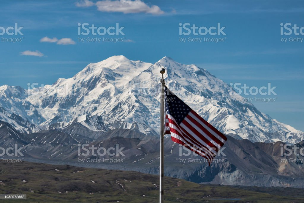 Denali and American Flag stock photo