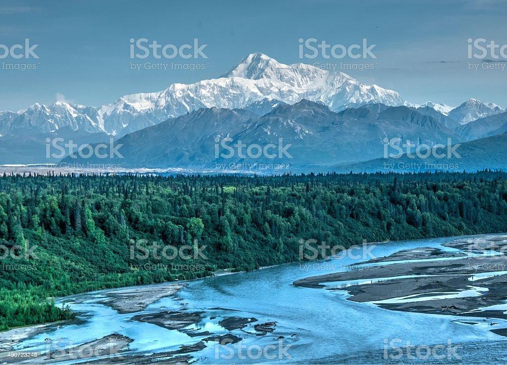 Denali and Telkeetna River stock photo